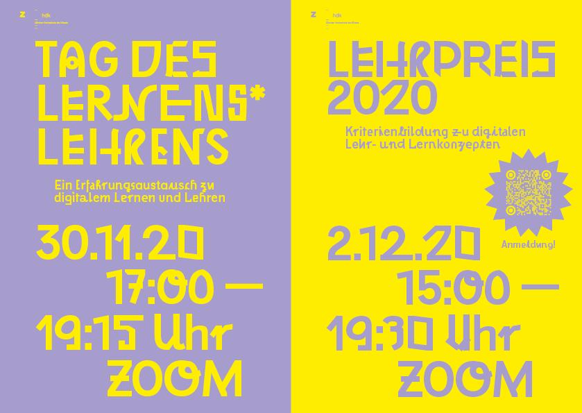 e-Flyer zum Tag des Lernens*Lehrens und zum Lehrpreis 2020 der Zürcher Hochschule der Künste